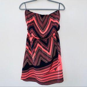 Express Chevron Mini Strapless Dress Size M